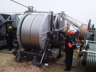 Tensioner applicated in stringing of 48 mm diameter conductor